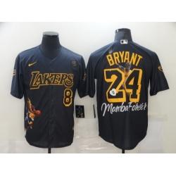 Men Los Angeles Dodgers Kobe Bryant 8 24 Mamba MLB Manba Black Yellow Jersey