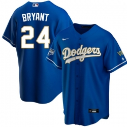 Men Los Angeles Dodgers Kobe Bryant Championship Gold Trim Blue Limited All Stitched Cool Base Jersey