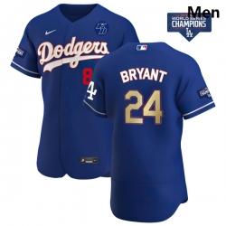 Men Los Angeles Dodgers Kobe Bryant Gold Program Designed Edition Blue Flex Base Stitched Jersey