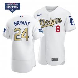 Men Los Angeles Dodgers Kobe Bryant Gold Program White Flex Base Stitched Jersey