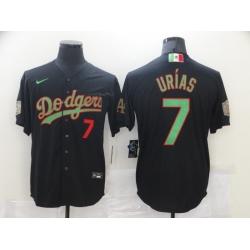 Men Los Angeles Dodgers Mexican Julio Urias 7 Black Jersey