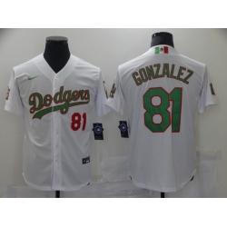 Men Los Angeles Dodgers MexicanLuis Gonzalez 81 World Series White MLB Jersey