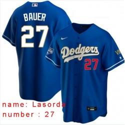 Men Los Angeles Dodgers Tommy Lasorda 27 Championship Gold Trim Blue Limited All Stitched Flex Base Jersey