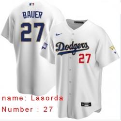 Men Los Angeles Dodgers Tommy Lasorda 27 Championship Gold Trim White Limited All Stitched Flex Base Jersey