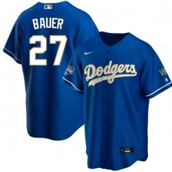 Men Los Angeles Dodgers Trevor Bauer 27 Championship Gold Trim Blue Limited All Stitched Cool Base Jersey