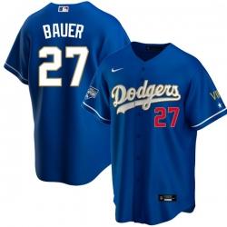 Men Los Angeles Dodgers Trevor Bauer 27 Championship Gold Trim Blue Limited All Stitched Flex Base Jersey