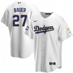 Men Los Angeles Dodgers Trevor Bauer 27 Championship Gold Trim White Limited All Stitched Cool Base Jersey