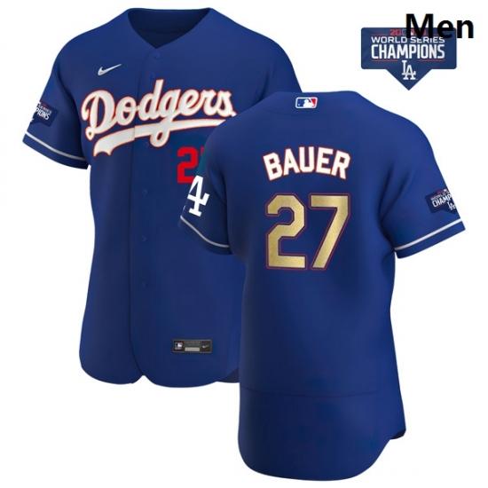Men Los Angeles Dodgers Trevor Bauer 27 Gold Program Designed Edition Blue Flex Base Stitched Jersey