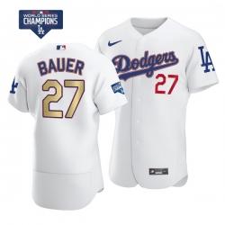 Men Los Angeles Dodgers Trevor Bauer 27 Gold Program Designed Edition White Flex Base Stitched Jersey