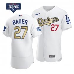 Men Los Angeles Dodgers Trevor Bauer 27 Gold Program White Flex Base Stitched Jersey