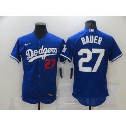 Men Los Angeles Dodgers Trevor Bauer 27 Royal Authentic Jersey