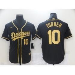 Men Nike Los Angeles Dodgers Justin Turner 10 Black Gold MLB Stitched Jersey