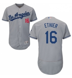 Mens Majestic Los Angeles Dodgers 16 Andre Ethier Grey Flexbase Authentic Collection MLB Jersey