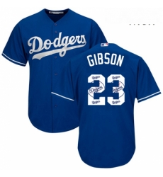 Mens Majestic Los Angeles Dodgers 23 Kirk Gibson Authentic Royal Blue Team Logo Fashion Cool Base MLB Jersey
