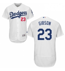 Mens Majestic Los Angeles Dodgers 23 Kirk Gibson White Home Flex Base Authentic Collection MLB Jersey