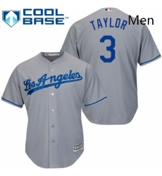 Mens Majestic Los Angeles Dodgers 3 Chris Taylor Replica Grey Road Cool Base MLB Jersey
