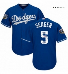 Mens Majestic Los Angeles Dodgers 5 Corey Seager Authentic Royal Blue Team Logo Fashion Cool Base 2018 World Series MLB Jersey