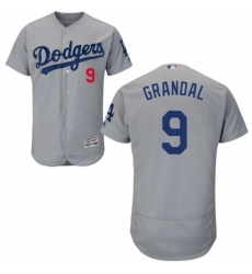 Mens Majestic Los Angeles Dodgers 9 Yasmani Grandal Gray Alternate Road Flexbase Authentic Collection MLB Jersey