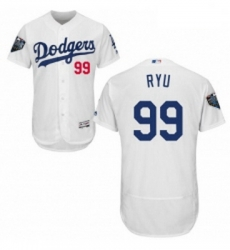 Mens Majestic Los Angeles Dodgers 99 Hyun Jin Ryu White Home Flex Base Authentic Collection 2018 World Series Jersey