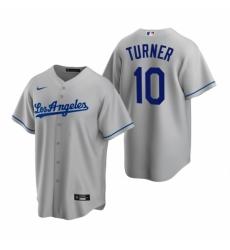 Mens Nike Los Angeles Dodgers 10 Justin Turner Gray Road Stitched Baseball Jerse