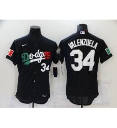 Men's Nike Los Angeles Dodgers #34 Fernando Valenzuela Black Elite Jersey