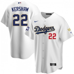 Women Los Angeles Dodgers Clayton Kershaw 22 Championship Gold Trim White Limited All Stitched Flex Base Jersey
