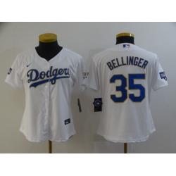 Women Los Angeles Dodgers Cody Bellinger 35 Championship Gold Trim White Limited All Stitched Cool Base Jersey