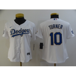 Women Los Angeles Dodgers Justin Turner 10 Championship Gold Trim White All Stitched Cool Base Jersey