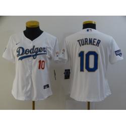 Women Los Angeles Dodgers Justin Turner 10 Championship Gold Trim White All Stitched Flex Base Jersey
