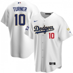 Women Los Angeles Dodgers Justin Turner 10 Championship Gold Trim White Limited All Stitched Flex Base Jersey