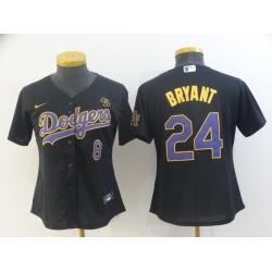 Women Los Angeles Dodgers Kobe Bryant 8 24 Black Purple Cool Base Jersey