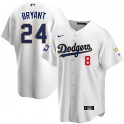 Women Los Angeles Dodgers Kobe Bryant Championship Gold Trim White Limited All Stitched Flex Base Jersey