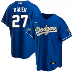 Women Los Angeles Dodgers Trevor Bauer 27 Championship Gold Trim Blue Limited All Stitched Cool Base Jersey