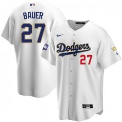 Women Los Angeles Dodgers Trevor Bauer 27 Championship Gold Trim White Limited All Stitched Flex Base Jersey