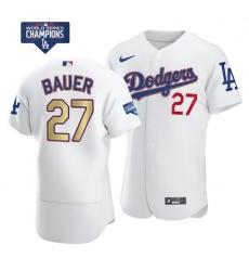 Women Los Angeles Dodgers Trevor Bauer 27 Gold Program Designed Edition White Flex Base Stitched Jersey