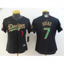 Women Nike Los Angeles Dodgers #7 Julio Urias Black 2020 World Series Authentic Jersey
