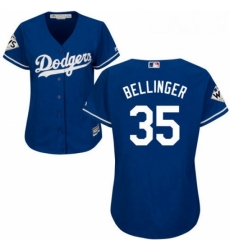 Womens Majestic Los Angeles Dodgers 35 Cody Bellinger Replica Royal Blue Alternate 2017 World Series Bound Cool Base MLB Jersey