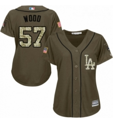 Womens Majestic Los Angeles Dodgers 57 Alex Wood Authentic Green Salute to Service MLB Jersey