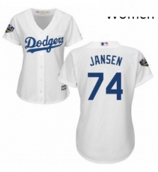 Womens Majestic Los Angeles Dodgers 74 Kenley Jansen Authentic White Home Cool Base 2018 World Series MLB Jersey