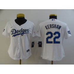 Women Los Angeles Dodgers Clayton Kershaw 22 Championship Gold Trim White All Stitched Cool Base Jersey