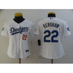 Women Los Angeles Dodgers Clayton Kershaw 22 Championship Gold Trim White All Stitched Flex Base Jersey
