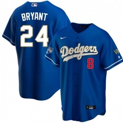 Youth Los Angeles Dodgers Kobe Bryant Championship Gold Trim Blue Limited All Stitched Flex Base Jersey