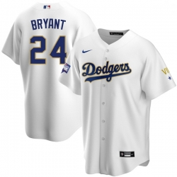 Youth Los Angeles Dodgers Kobe Bryant Championship Gold Trim White Limited All Stitched Cool Base Jersey