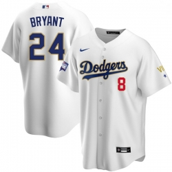 Youth Los Angeles Dodgers Kobe Bryant Championship Gold Trim White Limited All Stitched Flex Base Jersey