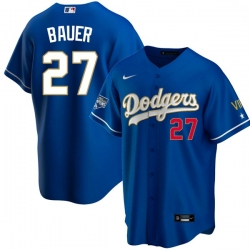 Youth Los Angeles Dodgers Trevor Bauer 27 Championship Gold Trim Blue Limited All Stitched Flex Base Jersey