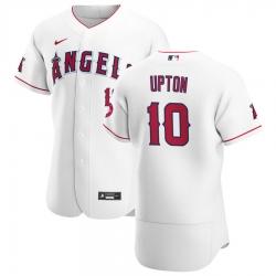 Men Los Angeles Angels 10 Justin Upton Men Nike White Home 2020 Flex Base Player MLB Jersey