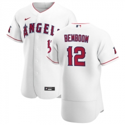 Men Los Angeles Angels 12 Anthony Bemboom Men Nike White Home 2020 Flex Base Player MLB Jersey