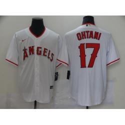Men Los Angeles Angels 17 Shohei Ohtani Men Nike White Home 2020 Cool Base Player MLB Jersey