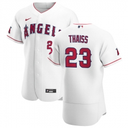 Men Los Angeles Angels 23 Matt Thaiss Men Nike White Home 2020 Flex Base Player MLB Jersey