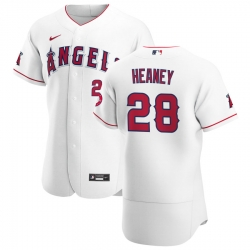 Men Los Angeles Angels 28 Andrew Heaney Men Nike White Home 2020 Flex Base Player MLB Jersey